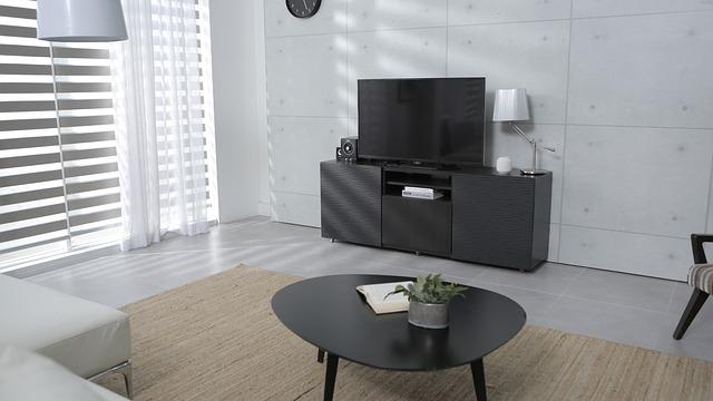 obývací stěna, žaluzie, televize